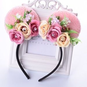 Minnie Mouse Floral Headband with Roses & Crystals